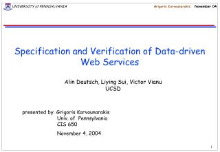 Specification and Verification of Data-driven Web Services