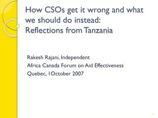 How CSOs get it wrong and what we should do instead: Reflections from Tanzania