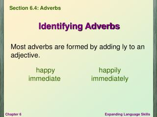 Most adverbs are formed by adding ly to an adjective.