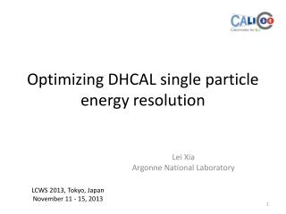 Optimizing DHCAL single particle energy resolution