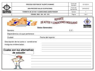REPORTE DE ACTOS Y CONDICIONES INSEGURAS