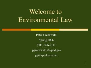 Welcome to  Environmental Law
