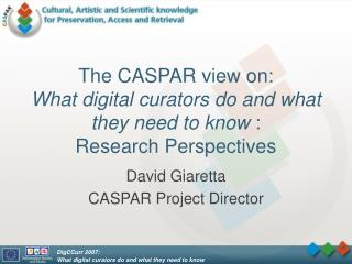 The CASPAR view on: What digital curators do and what they need to know  : Research Perspectives
