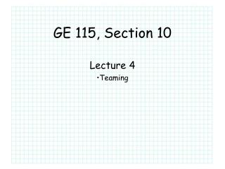 GE 115, Section 10