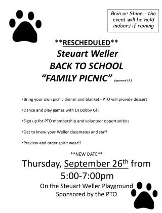 """** RESCHEDULED **  Steuart  Weller   BACK TO SCHOOL  """"FAMILY PICNIC""""  (approved J.P.)"""