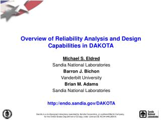 Overview of Reliability Analysis and Design Capabilities in DAKOTA