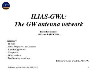 ILIAS-GWA: The GW antenna network