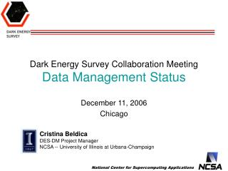 Dark Energy Survey  Collaboration Meeting Data Management Status