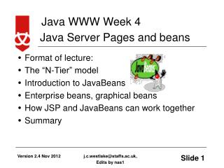 Java Server Pages and beans