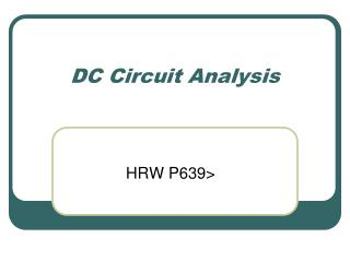 DC Circuit Analysis