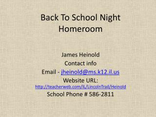 Back To School Night Homeroom