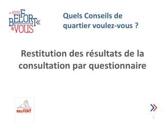 Restitution des résultats de la consultation par questionnaire