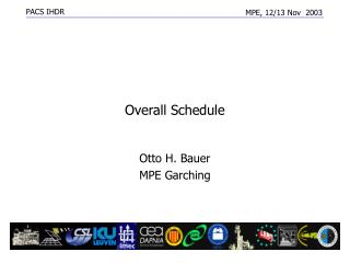 Overall Schedule