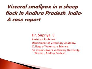 Visceral smallpox in a sheep flock in Andhra Pradesh,  India- A case report