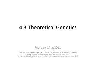4.3  Theoretical Genetics