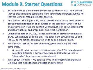 Module 9.  Starter Questions