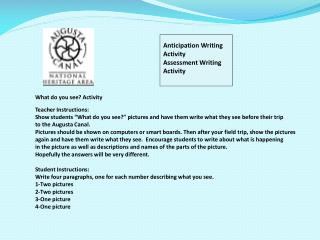 Anticipation Writing Activity Assessment Writing Activity