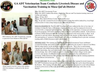 Who : GA ADT Veterinarian Team