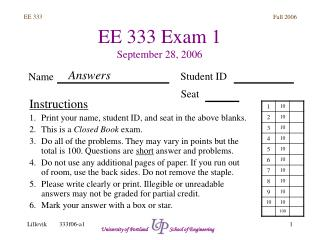 EE 333 Exam 1 September 28, 2006