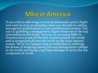 Mba in America