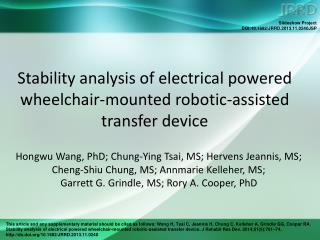 Stability analysis of electrical powered wheelchair-mounted robotic-assisted transfer device