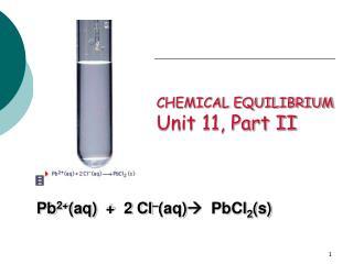 CHEMICAL EQUILIBRIUM Unit 11, Part II