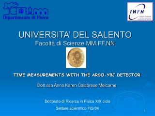 UNIVERSITA' DEL SALENTO Facoltà di Scienze MM.FF.NN