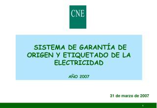 SISTEMA DE GARANTÍA DE ORIGEN Y ETIQUETADO DE LA ELECTRICIDAD AÑO 2007