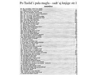 Po Taslid`i pala magla - sadr`aj knjige str.1