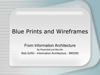 Blue Prints and Wireframes
