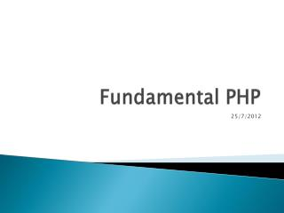 Fundamental PHP