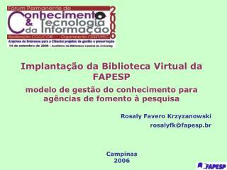 Implanta��o da Biblioteca Virtual da FAPESP