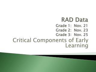 RAD Data  Grade 1:  Nov. 21 Grade 2:  Nov. 23 Grade 3:  Nov. 25