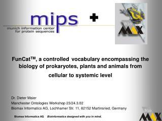 Dr. Dieter Maier Manchester Ontologies Workshop 23/24.3.02