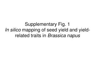 Supplementary Fig. 1  In silico  mapping of seed yield and yield-related traits in  Brassica napus
