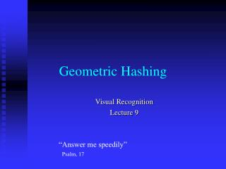 Geometric Hashing