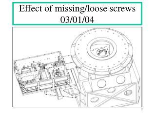 Effect of missing/loose screws 03/01/04
