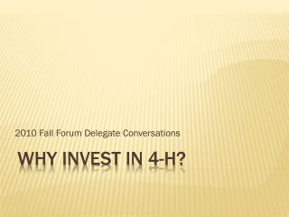 Why Invest In 4-H?
