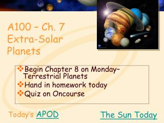 A100 – Ch. 7 Extra-Solar Planets