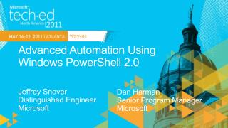 Advanced Automation Using Windows PowerShell 2.0