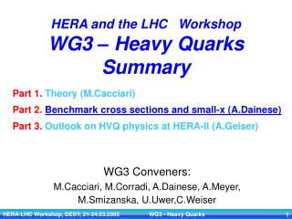 HERA and the LHC   Workshop WG3 � Heavy Quarks  Summary