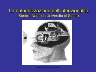 La naturalizzazione dell'intenzionalità Sandro Nannini (Università di Siena)