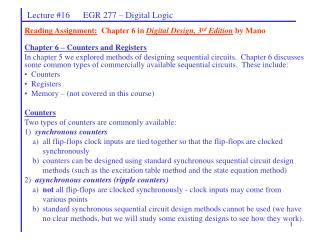 Lecture #16      EGR 277 – Digital Logic