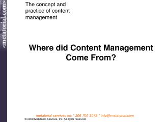 Where did Content Management Come From?