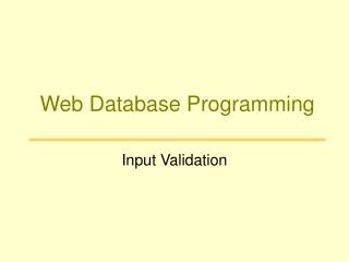Web Database Programming