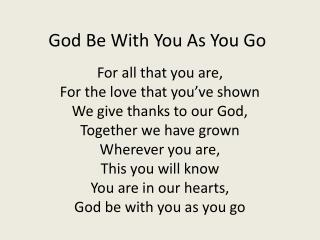 God Be With You As You Go
