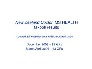 New Zealand Doctor  IMS HEALTH  faxpoll results