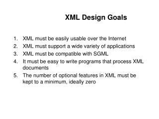 XML Design Goals