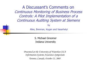 S. Michael Groomer Indiana University