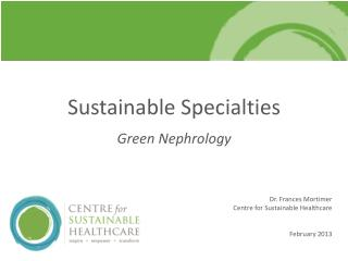Sustainable Specialties Green Nephrology